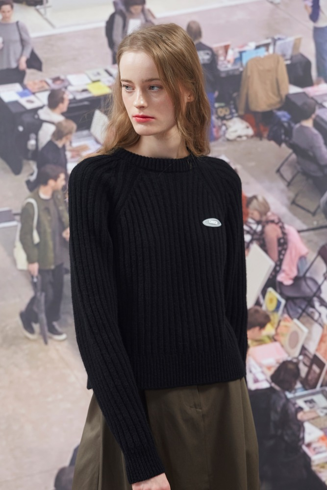 19FW CHUCK CROP LONG SLEEVE KNIT (BLACK)