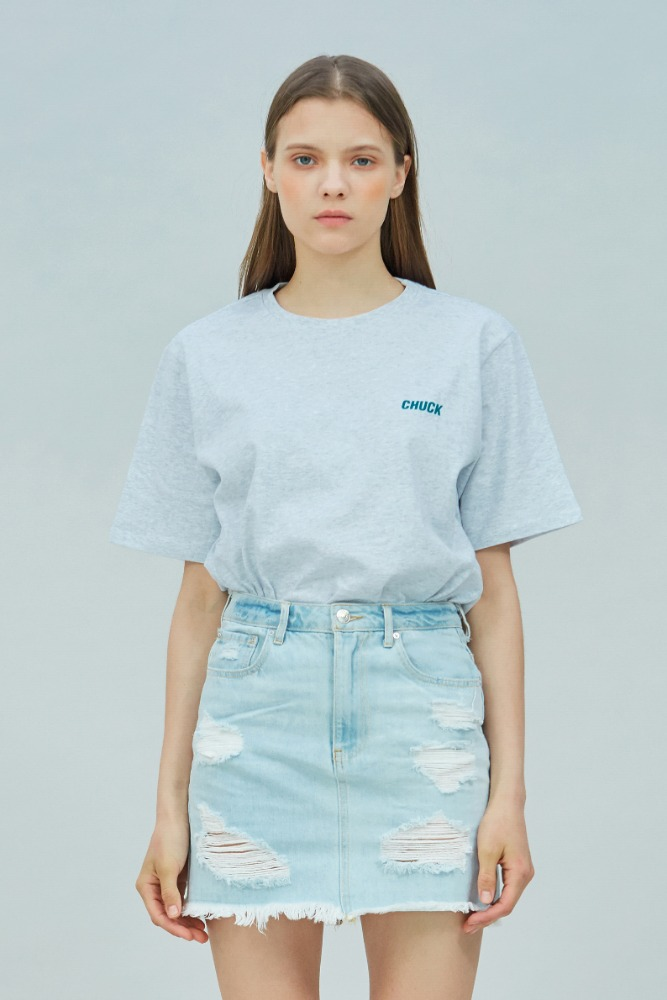 19 SUMMER CHUCK SMALL LOGO T-SHIRT (LIGHT GRAY)