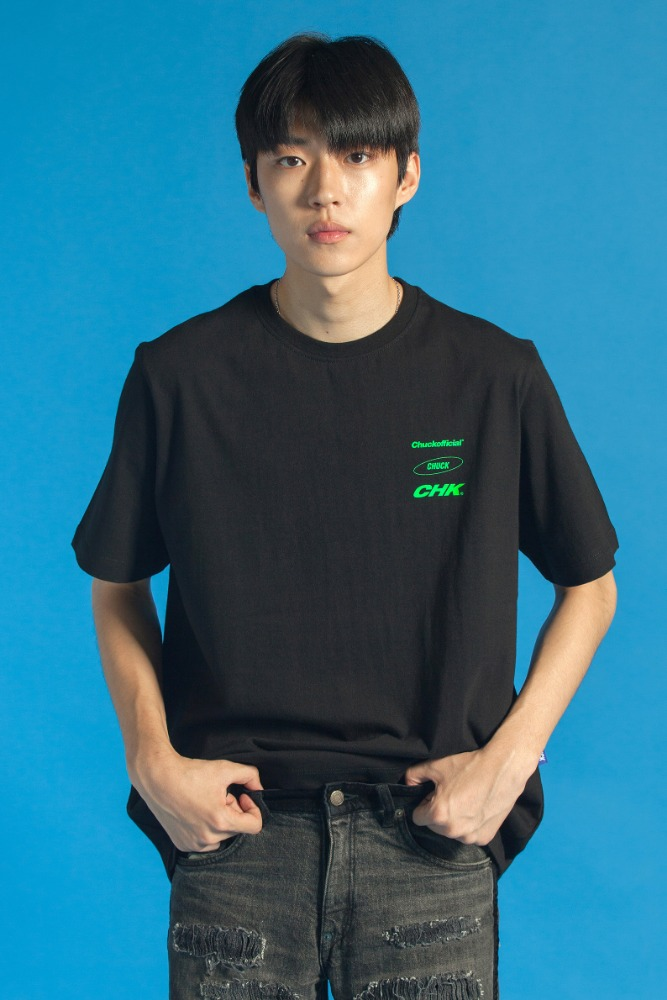 19 SUMMER CHUCK THREE LOGO T-SHIRT (BLACK)
